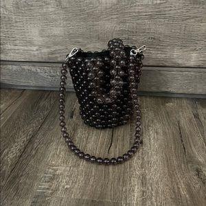 Zara black beaded bucket bag small mini purse